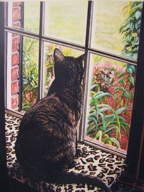Judith Smith Wilson; Portrait Of Miss Kitty, 2007, Original Watercolor, 8 x 10 inches. Artwork description: 241  My cat Miss Kitty sitting looking out the window at the birds.  Painting done from a photograph by Juith Smith Wilson.  Original Price $750. 00.  Open Edition Prints  $35. 00. ...