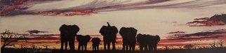 Judith Smith Wilson; Savutis Elephants, 2000, Original Watercolor, 17 x 8 inches. Artwork description: 241  Silouette of Elephants at sunset Open Edition Print Only $35. 00   Original Sold...