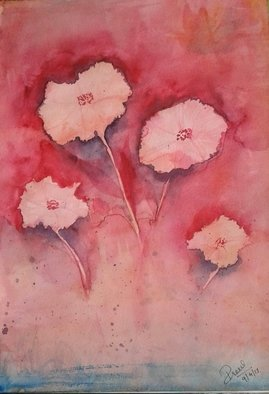 Prerna Sharma; The Four, 2017, Original Watercolor, 8 x 11.2 inches. Artwork description: 241 four red flowers painting on paper...