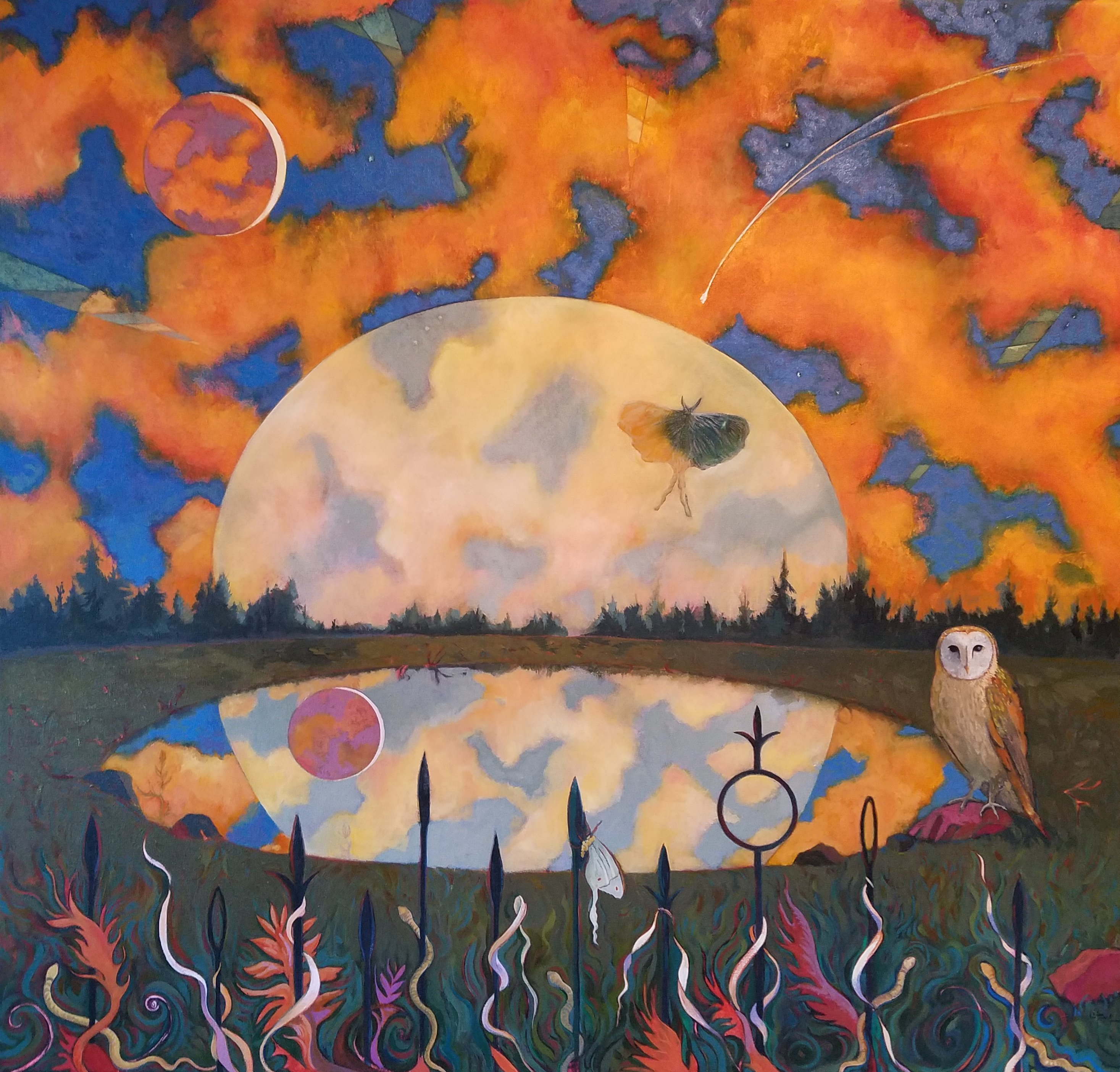 Lauren Litwa; Many New Moons, 2016, Original Painting Oil, 44 x 42 inches. Artwork description: 241 Full Moon with a Blood Moon with Owl and Orange Sky...