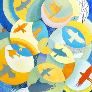 Lauren Litwa; The Joy Of Flying, 2018, Original Painting Oil, 24 x 24 inches. Artwork description: 241 Flying Birds in Overlapping Circles...