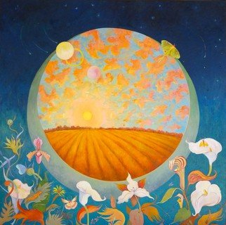 Lauren Litwa; The Portal, 2018, Original Painting Oil, 40 x 40 inches. Artwork description: 241 Full Moons with a portal to a landscape with sunset with calla lilies, luna moth, butterflies and salamander...