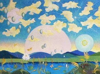 Lauren Litwa; Visitors With Brook Trout, 2017, Original Painting Oil, 48 x 36 inches. Artwork description: 241 Surreal landscape with Sun, Stream, Fish and Flowers...