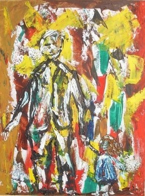 Roger Cummiskey; Father And Daughter    SOLD, 2008, Original Painting Oil, 23 x 30.5 cm. Artwork description: 241  Abstract oil painting on board. ...