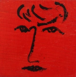 Roger Cummiskey; Lady On Red  SOLD, 2013, Original Painting Oil, 6.4 x 6 cm. Artwork description: 241 Based on an abstract face. ...