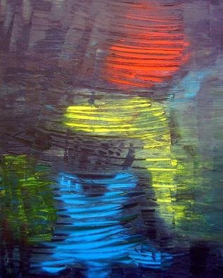 Nunzio Zurzolo; KINESIS, 2010, Original Painting Oil, 40 x 50 cm. Artwork description: 241   Oil painting in red- yellow- blue with black background. Kinesis is the movement and the colors are the man and woman energy fields. ...