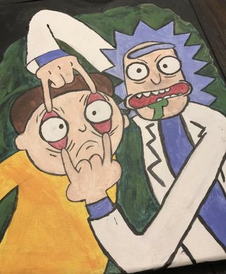 Mia Rivera; Rick And Morty Painting, 2020, Original Painting Acrylic, 19 x 22 inches. Artwork description: 241 Two characters from Rick and Morty...