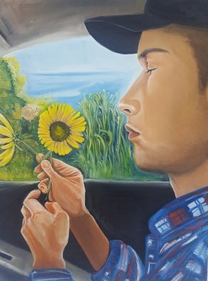 Stephanie  Cain; Focus, 2016, Original Painting Oil, 30.2 x 40.2 inches. Artwork description: 241 man looking at flower...