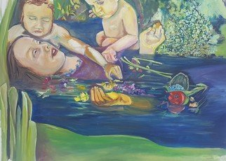 Stephanie  Cain; Ophelia As Mother, 2015, Original Painting Oil, 42.2 x 30.2 inches. Artwork description: 241 Ophelia as mother ...