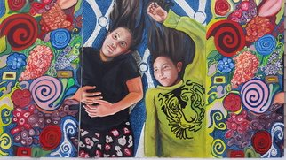 Stephanie  Cain; Twins, 2017, Original Painting Oil, 80.2 x 47.2 inches. Artwork description: 241 twins one is the same as the other, only different.3 panel cavas...