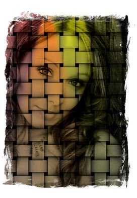 Tammy Gatten; Sabra , 2007, Original Computer Art, 16 x 20 inches. Artwork description: 241  A woman behind the woven screen.  Rich colors with black representing looking for freedom. ...