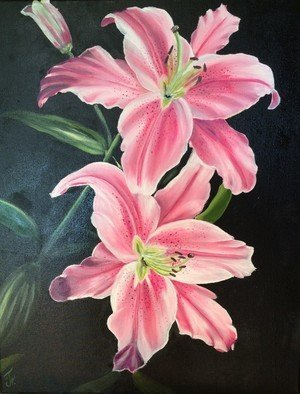 Nataliia Plakhotnyk; Lilies, 2017, Original Painting Oil, 15.7 x 19.7 inches. Artwork description: 241 painting, oil, flowers, floral, lilies, pink lilies, gift, original, wall decor, art for home, gift for hergift for mother, bedroom painting, bright, gift for valentine s day, gift for birthday...