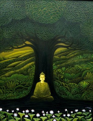 Manoj Kp; Greenbuddha, 2018, Original Painting Oil, 12 x 16 inches.