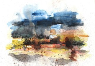Aniko Hencz; After storm, 2013, Original Watercolor, 20 x 30 cm. Artwork description: 241  watercolor, abstract, landscape, river, nature, watercolor painting, trees, winter landscape, abstract watercolor ...