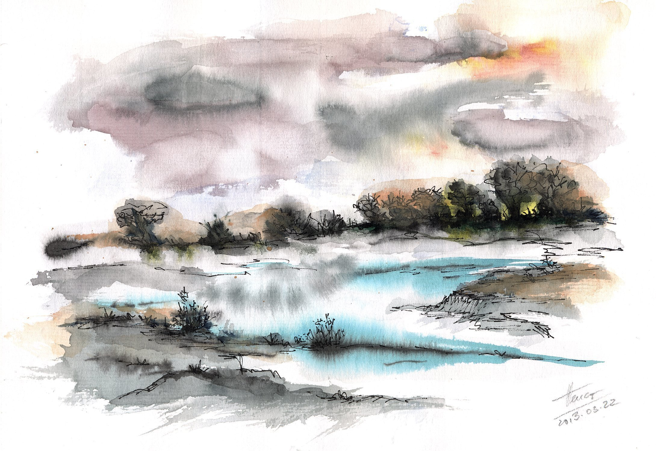 Aniko Hencz; Frozen river, 2013, Original Watercolor, 20 x 30 cm. Artwork description: 241  watercolor, abstract, landscape, river, nature, watercolor painting, trees, winter landscape, abstract watercolor ...