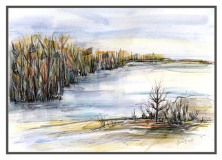 Aniko Hencz; at the lake, 2017, Original Watercolor, 12.5 x 9.4 inches. Artwork description: 241 Abstract landscape at a lake. It is made in watercolor and black ink, painted on 300gr Canson watercolor paper.Please note, painting is being sold unframed - framed photos are only for illustration purposes. The colors may slightly differ depending on your monitor settings. Please feel free to ...