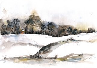 Aniko Hencz; early snow, 2017, Original Watercolor, 11.4 x 8.2 inches. Artwork description: 241 Original abstract winter scene watercolor and ink painting.  It was created in 2017 on 240gr artistic paper with watercolor and ink.Please note, painting is being sold unframed - framed photos are only for illustration purposes. The colors may slightly differ depending on your monitor settings. ...