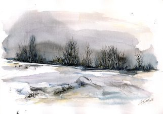 Aniko Hencz; winter landscape, 2017, Original Watercolor, 11.4 x 8.2 inches. Artwork description: 241 Abstract winter landscape with trees in watercolor and black ink. It is painted on 240gr artistic paper with slight pattern imprints on the surface.Please note, painting is being sold unframed - framed photos are only for illustration purposes. The colors may slightly differ depending on your monitor ...