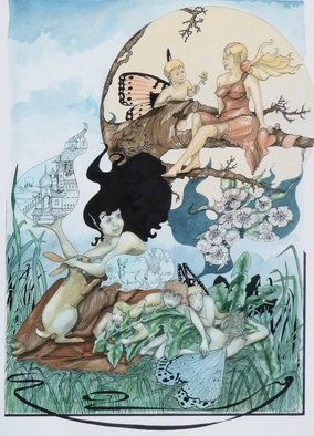 Rhoda Taylor; Fair And Softley Go Sure ..., 2015, Original Illustration, 37 x 51 inches. Artwork description: 241  Fairies and Dreams.Detailed artwork using Pen/ ink/ gouache. Flowers/ Animals/ Fairies ...