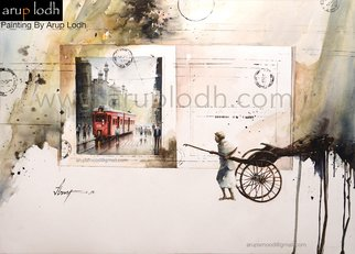 Arup Lodh; Faded Manuscript, 2018, Original Watercolor, 42 x 29 inches. Artwork description: 241 Recreate the Magic of EnjoyingKolkata - a word woven with mystery. A city with as many unique interpretations as its people. Italways remained at the center of our curiosities and discussions. There is one more Kolkata which is being passed over to us through stories and ...
