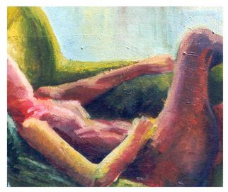 Ashley Hancock; Reclining Nude , 1998, Original Painting Oil, 15 x 13 inches. Artwork description: 241 oil on canvas...