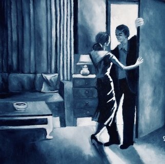 Robert Solari; Night Cap, 2016, Original Painting Oil, 28 x 28 inches. Artwork description: 241 A couple coming home from a night of partying decide to have one more drink, however the woman is not sure thats a good idea. ...