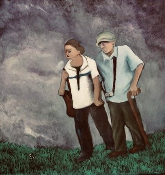Robert Solari; The Tourists, 2018, Original Painting Oil, 28 x 30 inches. Artwork description: 241 While in Florida I saw an elderly couple walking with difficulty trying to make the best of their vacation. I was impressed with their determination. ...
