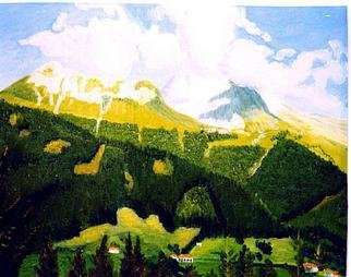 Aurelio Zerla; Alpine View, 1991, Original Painting Oil, 18 x 14 inches. Artwork description: 241 View of Pre- Alps at Borno, Italy. Here I enjoyed capturing the play between the shapes of the clouds, and the peaks of the mountains, in a bright sunny day....
