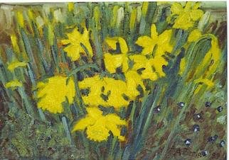 Aurelio Zerla; Daffodils, 2004, Original Painting Oil, 10 x 8 inches. Artwork description: 241 Narcissus flowers in front of my home. Here I enjoyed sitting on the ground to capture the sense of closeness to these flowers and their intense color. ...