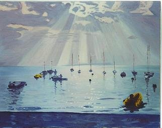Aurelio Zerla; Sun Rays On Lake Garda, 1992, Original Painting Oil, 30 x 26 inches. Artwork description: 241 Magical moment on Lake Garda, as the sun breaks through the clouds, creating reflections and contratsts on the mirror- like lake surface....