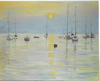Aurelio Zerla; Sunset On Lake Garda, 1994, Original Painting Oil, 30 x 26 inches. Artwork description: 241 Here I wanted to capture the great sense of transparency of the lake surface, where the boats seemed to barely touch the water, in contrast to the warm color of the sun setting and its reflection. ...