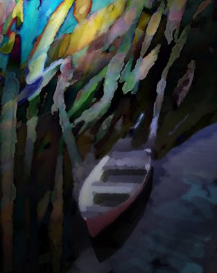 Audri Phillips; Canoe, 2010, Original Computer Art, 11 x 14 inches. Artwork description: 241  A place of peace and meditation, is where this canoe sits. A digital painting ...