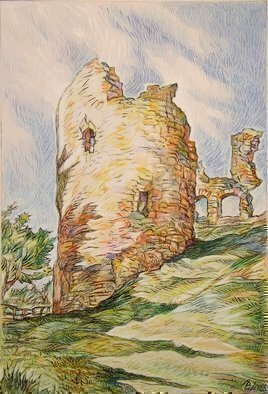 Austen Pinkerton, NARBERTH CASTLE, 2015, Original Drawing Crayon, size_width{NARBERTH_CASTLE-1445970740.jpg} X 27 x  cm
