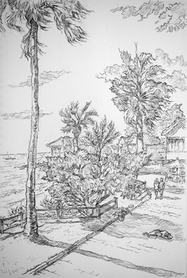 Austen Pinkerton; Beachside Walk At Side, 2018, Original Drawing Pencil, 21 x 30 cm.