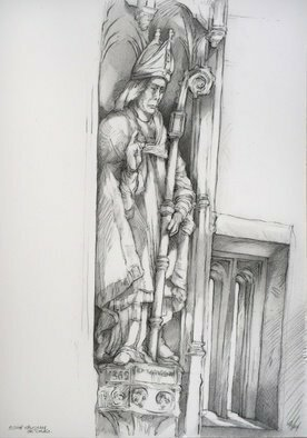 Austen Pinkerton; Bishop Vaughan, 2020, Original Drawing Pencil, 28 x 42 cm. Artwork description: 241 Another  on site  drawing  at St Davids Cathedral, last Friday 23rd October, in the Holy Trinity Chapel, a Narberth Art Group event, of one of the two statues in late medieval fan vaulted niches  statues look to me to be 19th century replacements of possibly reformation vandalised ...