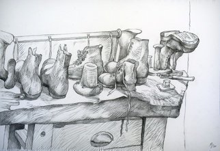 Austen Pinkerton; Boots, 2020, Original Drawing Pencil, 42 x 28 cm. Artwork description: 241  These boots were made for walking, that s what they re gonna do . . . . . . . . the  cobblers bench  display at Narberth Museum. 42 x 28 cm. Pencil and Blender. Narberth Art Group, Friday October 9th. ...