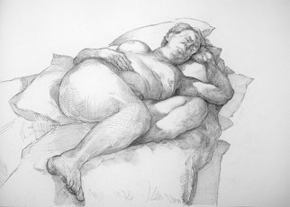 Austen Pinkerton; Carole Number One, 2020, Original Drawing Pencil, 42 x 30 cm. Artwork description: 241 Carole No. 1, Narberth Museum Life Drawing Group Januyary 2020...