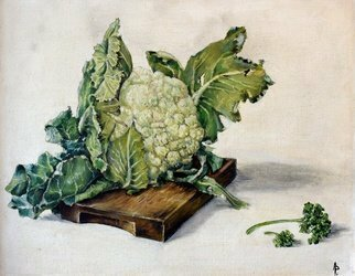 Austen Pinkerton; Cauliflower Painted Age 15, 1966, Original Painting Oil, 18 x 12 inches.