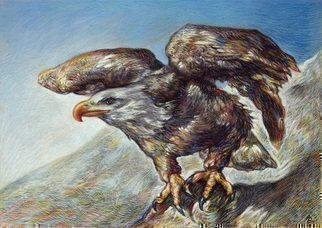 Austen Pinkerton; Eagle, 2019, Original Drawing Pastel, 42 x 30 cm.