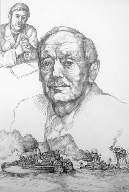 Austen Pinkerton; H G Wells, 2020, Original Drawing Pencil, 42 x 28 cm. Artwork description: 241  New drawing just finished:  H G Wells , 28 x 42cm, pencil and blender. I wanted to do a drawing of Wells, whose work I ve always admired. I still don t think he s properly appreciated, perhaps because he s so difficult to pigeonhole. Huge body of ...
