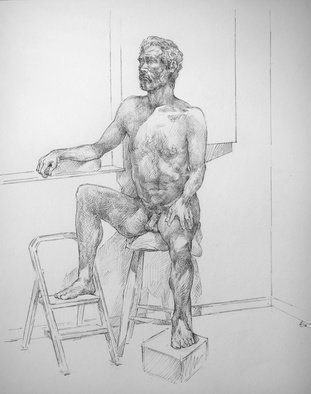 Austen Pinkerton; Indigo Life Study Number 3, 2018, Original Drawing Graphite, 41 x 50 cm. Artwork description: 241 portrait figure study nude ...