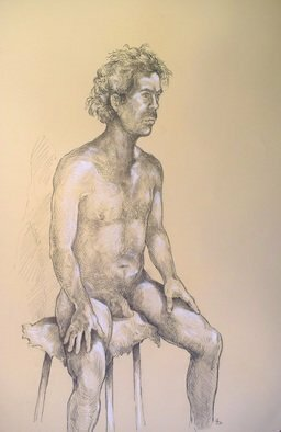 Austen Pinkerton; Indigo Seated, 2020, Original Drawing Pastel, 38 x 55 cm. Artwork description: 241 Life drawing of artists model Indigo at Narberth Museum Friday 20th Niovember...