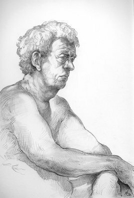 Austen Pinkerton; John 6th March 2020, 2020, Original Drawing Pencil, 21 x 28 cm. Artwork description: 241 Latest from the Life Drawing group:  John, 6th March 2020 , pencil and blender, 210 x 297mm...