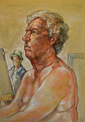 Austen Pinkerton; John Number Five, 2019, Original Drawing Pastel, 30 x 42 cm. Artwork description: 241 Life study of nude at narberth life drawing group, . south wales, UK...