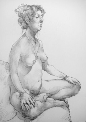 Austen Pinkerton; Mary Number One, 2019, Original Drawing Graphite, 30 x 42 cm. Artwork description: 241 Drawn last Friday at Narberth Museum Life Drawing Group...
