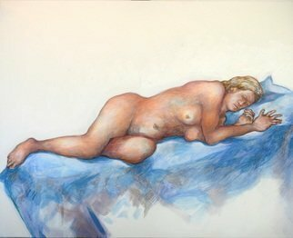 Austen Pinkerton; Reclining Nude, 2019, Original Painting Acrylic, 50 x 40 cm. Artwork description: 241 Not sure if this is worth posting, but it s an acrylic painting on canvas  40 x 50 cm , started at Narberth Life Drawing group and completed at home last week. ...