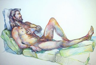 Austen Pinkerton; Sean Number 0ne, 2019, Original Drawing Crayon, 42 x 30 inches. Artwork description: 241 Latest Narberth Life Drawing work just finished Sean the Jesus clone , Crayon, Ink, white Gouache, 42 x 30 cm, finished yesterday 19th Dec.  ...