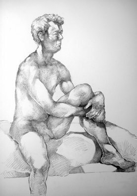 Austen Pinkerton; Stephen Number One, 2020, Original Drawing Pencil, 30 x 42 cm. Artwork description: 241  Stephen Number One , Narberth Museum,  Narberth, Wales, UK  Life Drawing Group last Friday 14th February, Pencil and Blender, 40 x 50 cm...
