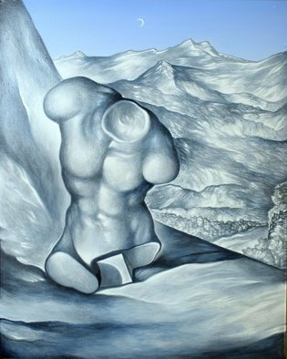 Austen Pinkerton; Study In Grey And Blue, 2020, Original Painting Acrylic, 40 x 50 cm. Artwork description: 241 Stll life of resin casting of copy of antique sculpture. On table with mountainous landscape in background. ...