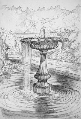 Austen Pinkerton; The Fountain At Picton Castle, 2020, Original Drawing Pencil, 21 x 28 cm. Artwork description: 241 New drawing I ve just completed with the Narberth Art Group,  Narberth U. K.  Finished at home after mostly done on site :  The Fountain in the Lily Pond at Picton Castle Gardens . 28 x 21 cm. Pencil, blender,   some white gouache.  ...